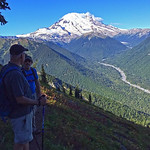 Bill and Rob on trail as we closed in on Crystal Peak. Being on this side of Mount Rainier provided us a cool perspective of the three Burroughs peaks (far right of this picture). It was the ...