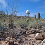 Arizona-Ajo-National Airspace System Defense facility. Team WADS on joint technical inspection with FAA counterparts.View of the ARSR-4 radar and old Air Force Station height finder building ...
